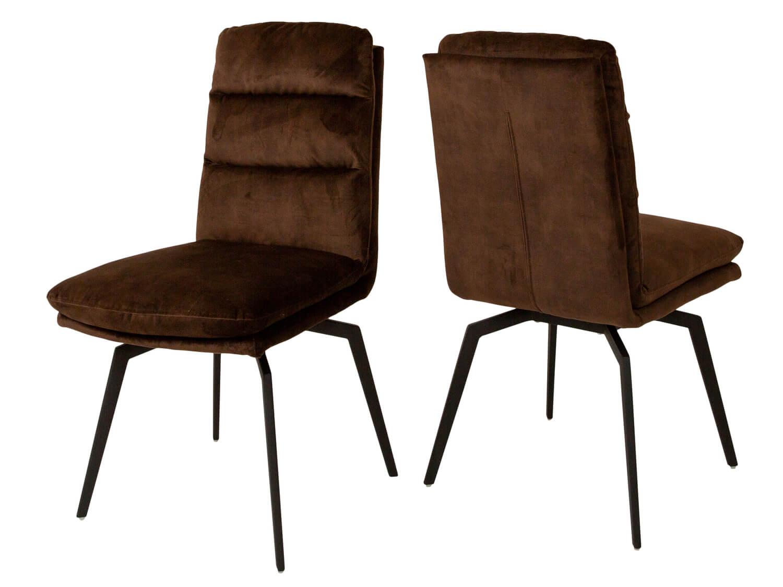 Billede af CANETT Uri spisebordsstol - kaffebrun velour og sort jern, m. drejefunktion