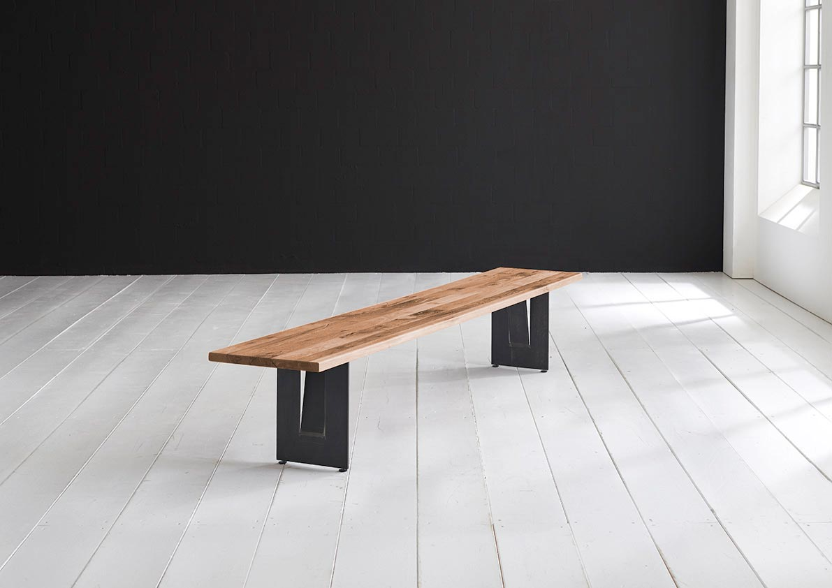 BODAHL Concept 4 You spisebordsbænk - massiv egetræ m. Steven ben 200 x 40 cm 3 cm 02 = smoked