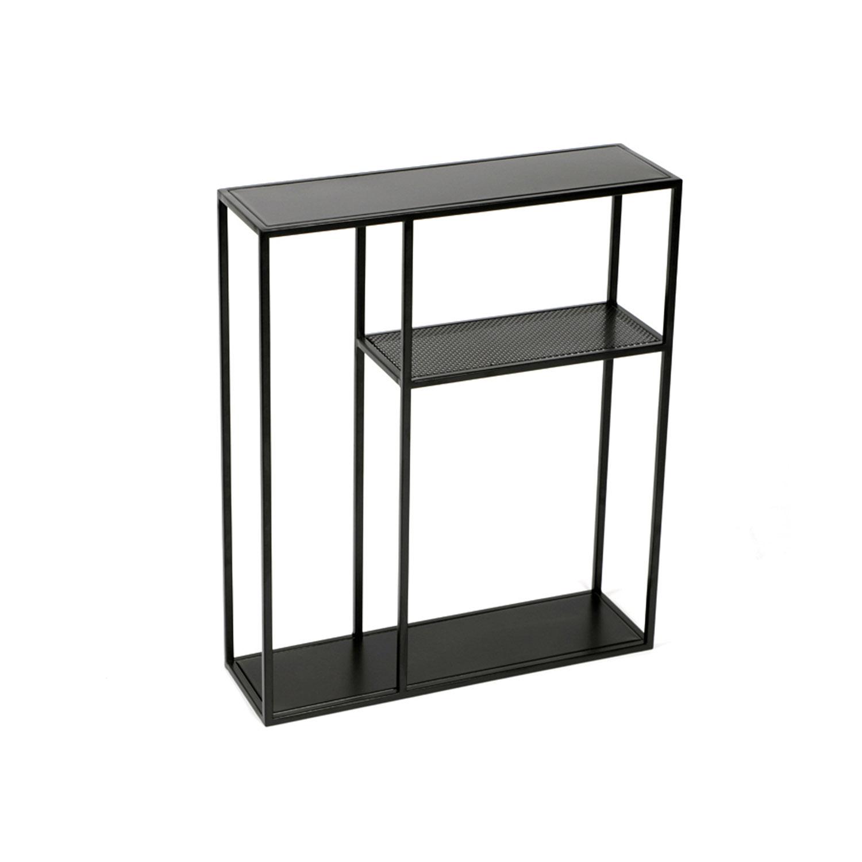 CANETT Vega rektangulær vægreol - sort jern
