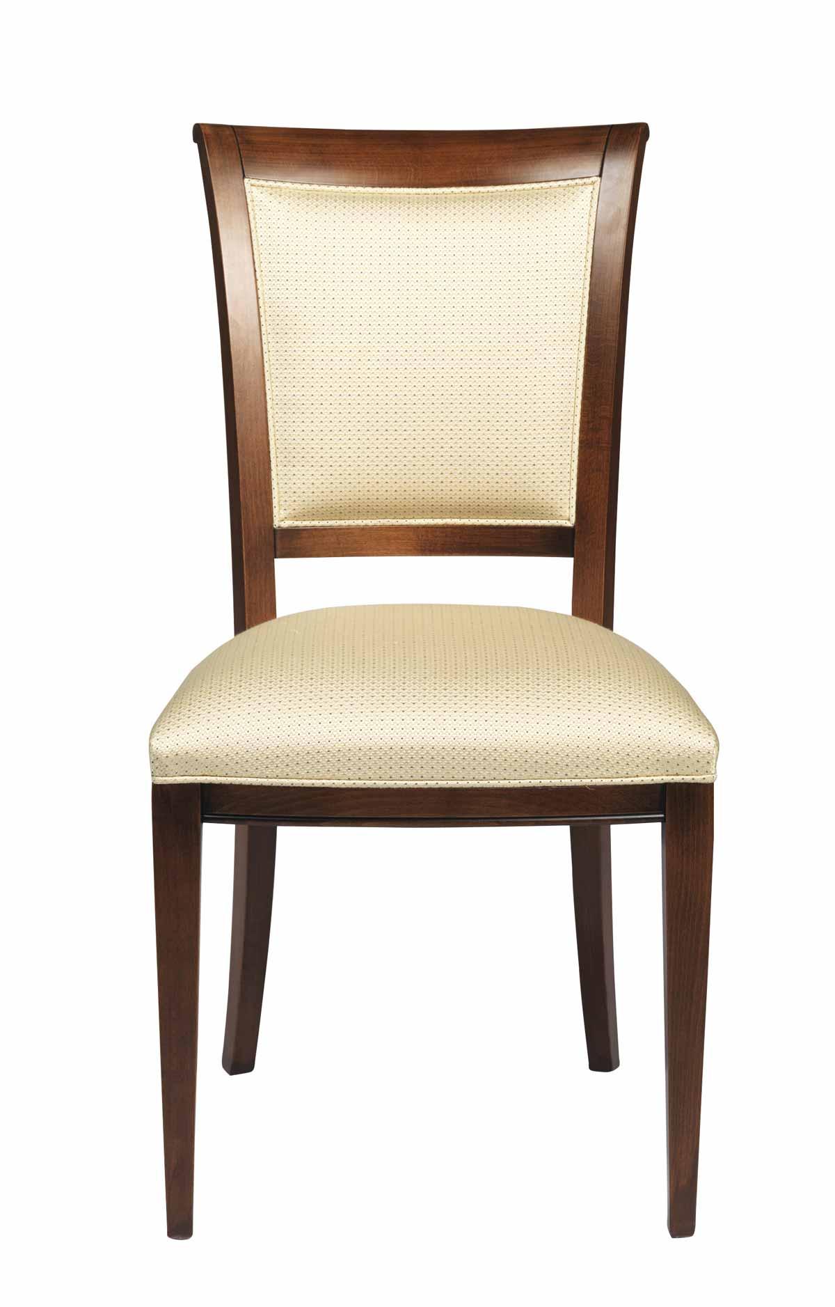 Sabrina spisebordsstol - Lakeret træ, beige stof hynde