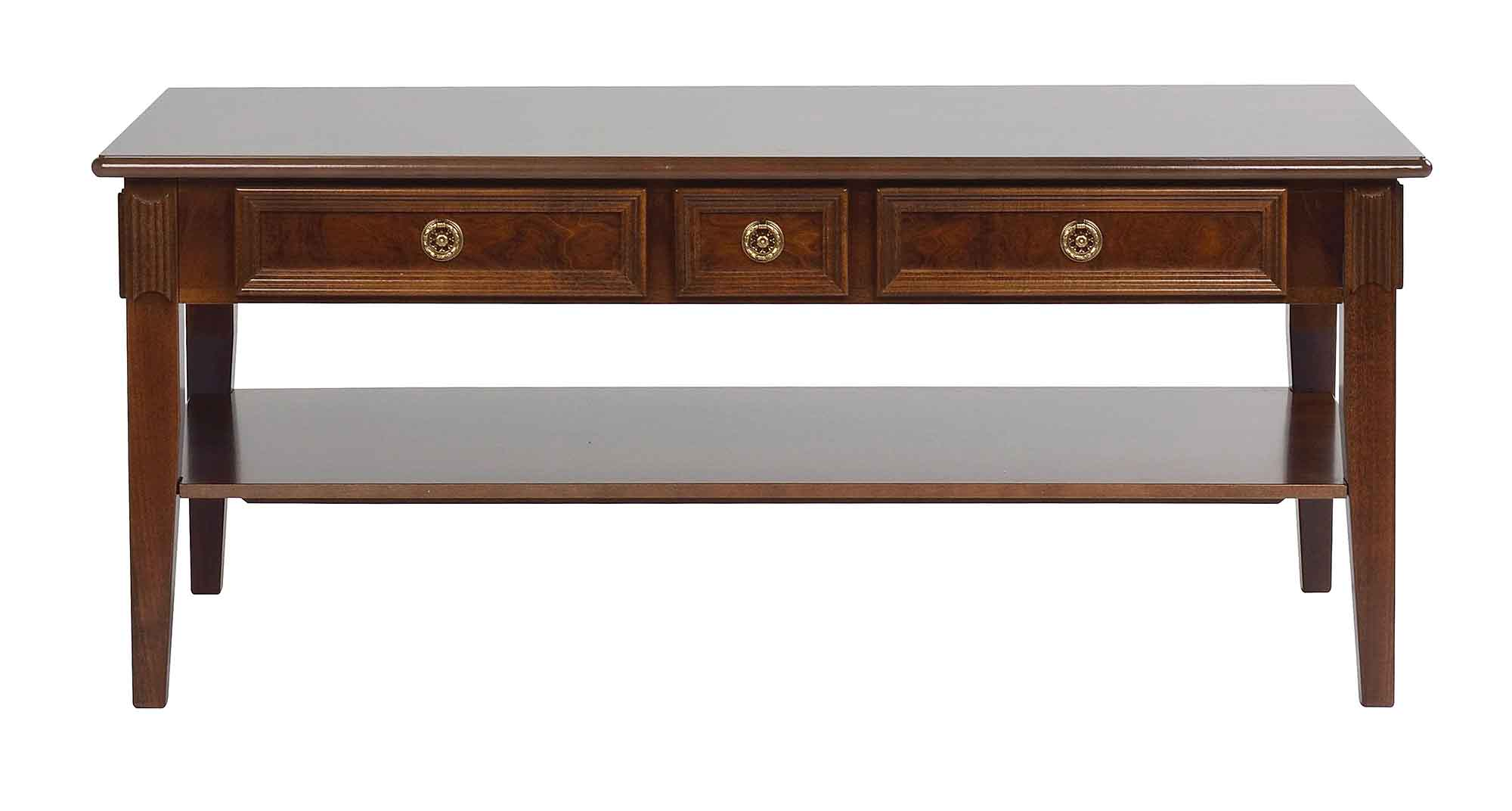 Mozart sofabord - valnøddebrun m. 3 skuffer