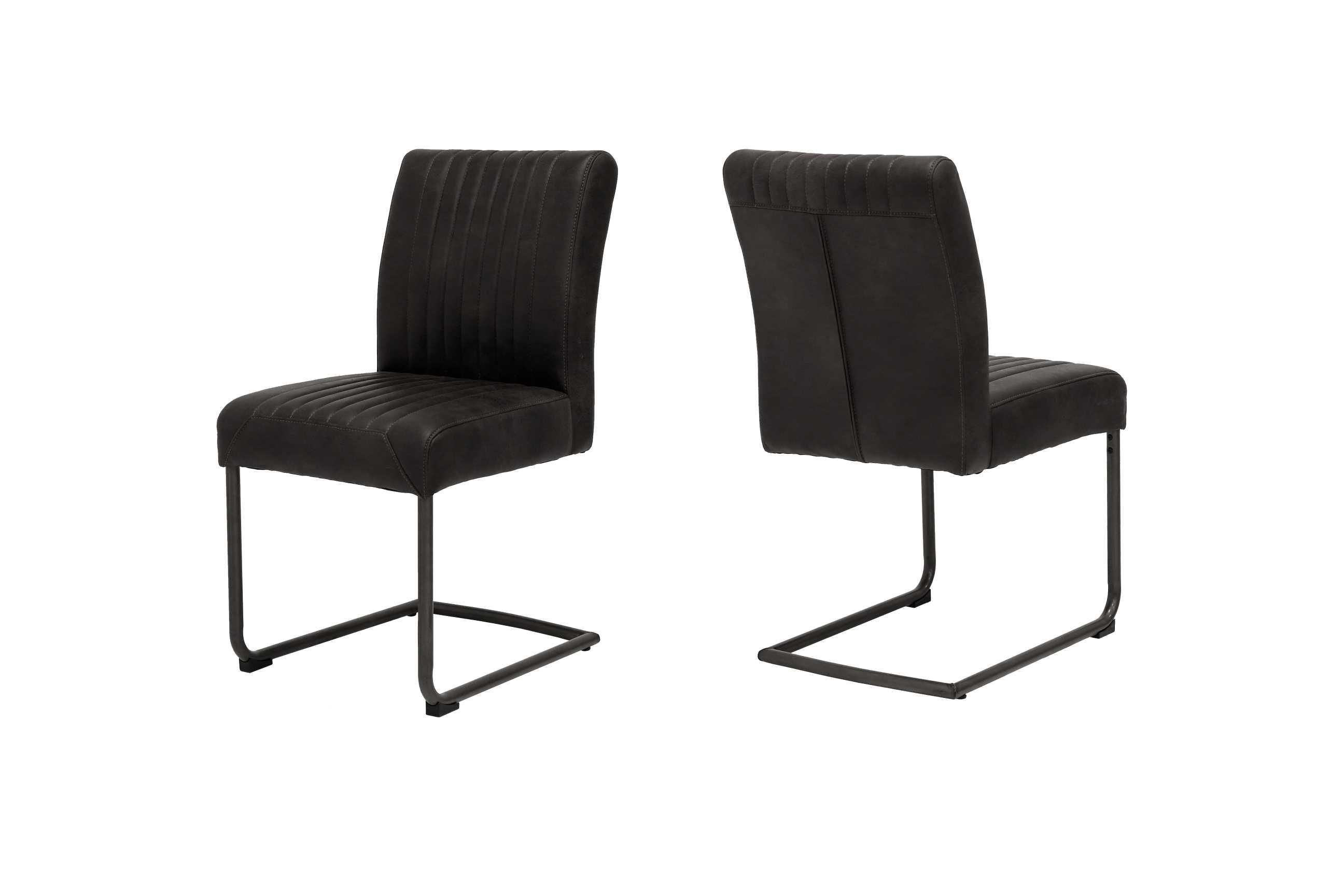 Canett pitou spisebordsstol - sort patineret læderlook og sort metal fra canett på boboonline.dk