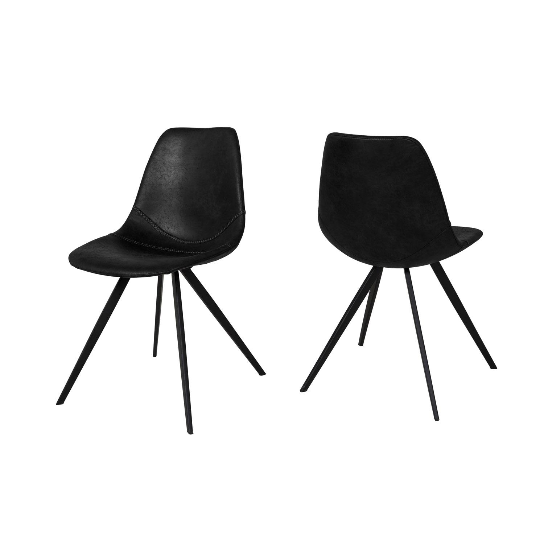 CANETT Rikke spisebordsstol - sort polyester og jern