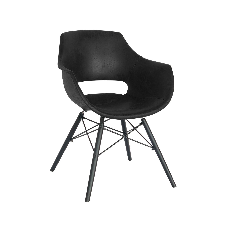 CANETT Diego spisebordsstol m. armlæn - sort polyester og jern