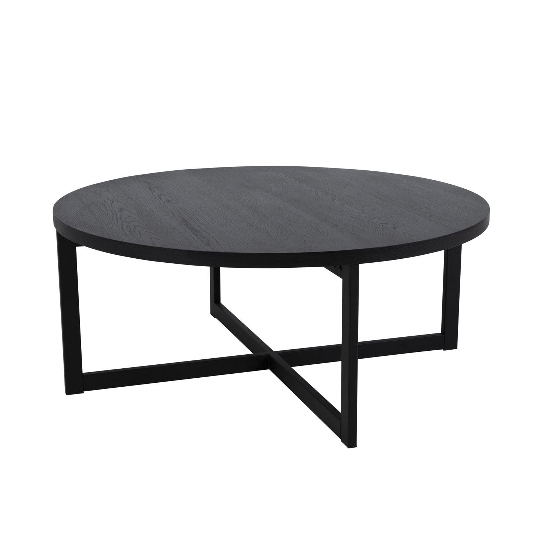 CANETT Carson rund sofabord - sort egetræsfiner og jern