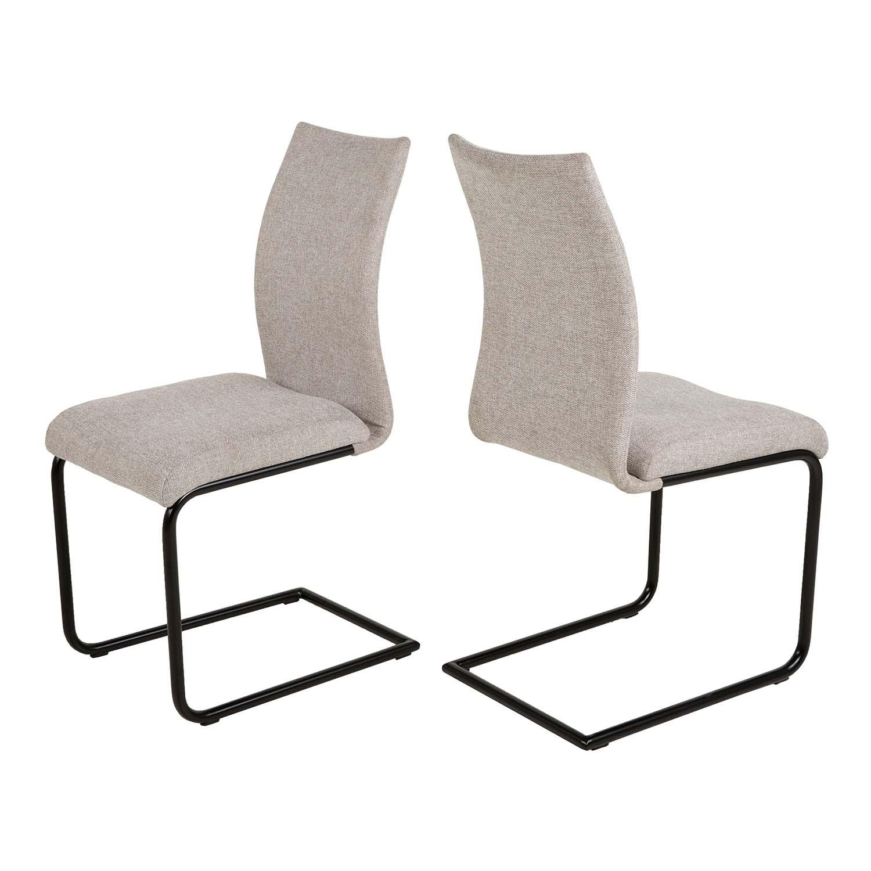 Canett Stockholm Spisebordsstol - Beige Polyester Og Sort Metal