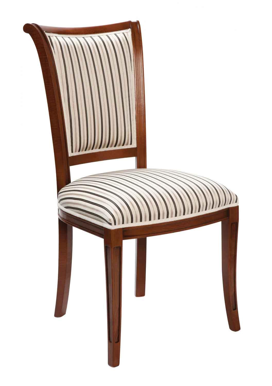 Image of   Amore spisebordsstol - valnøddebrun og sort/hvidt stribet stof