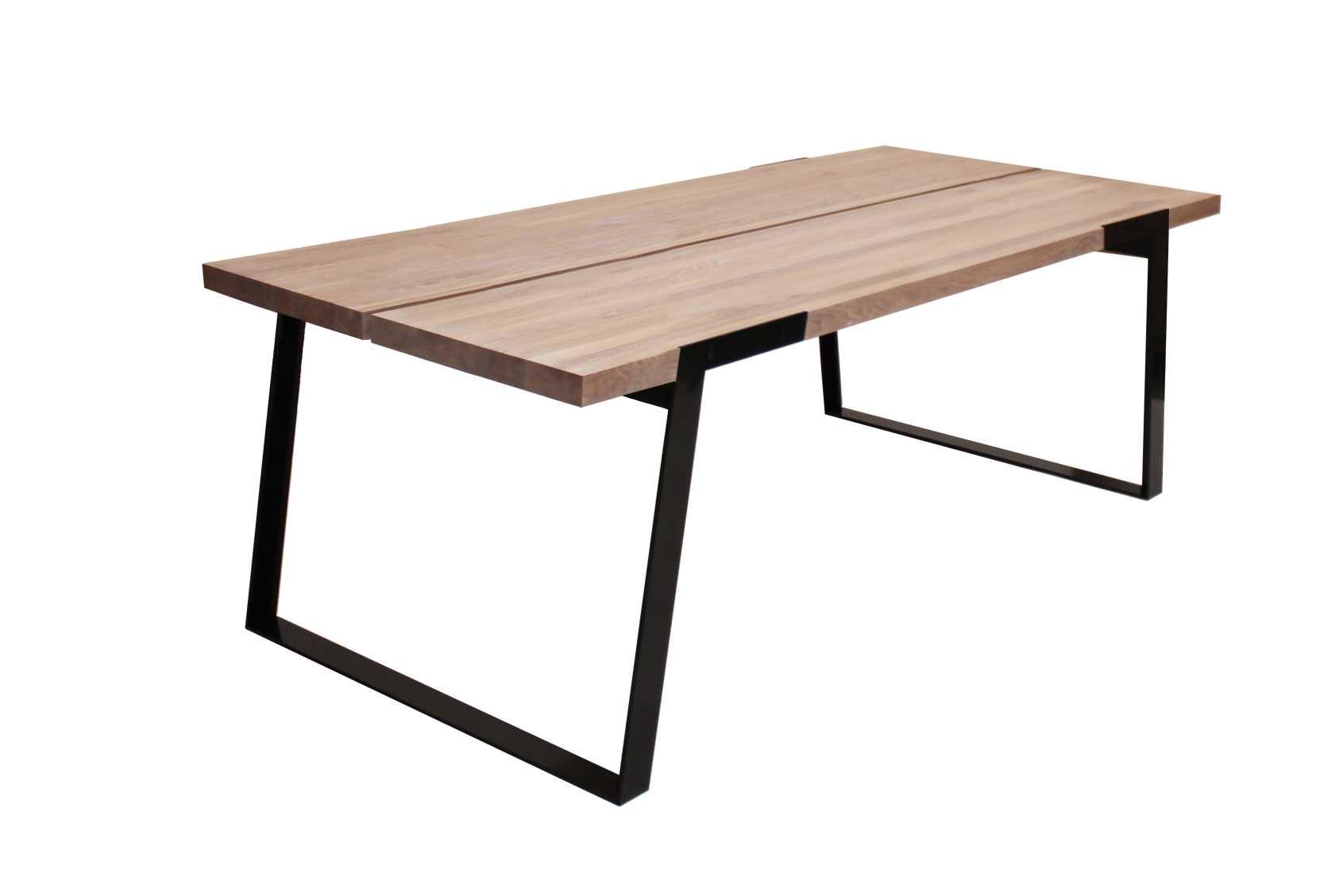 CANETT Zilas plankebord - hvidolieret vildeg og sort metal, m. udtræk (240x100)