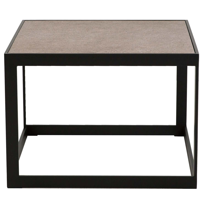 CANETT kvadratisk Stone sofabord - keramik og sort metal (62x62) thumbnail