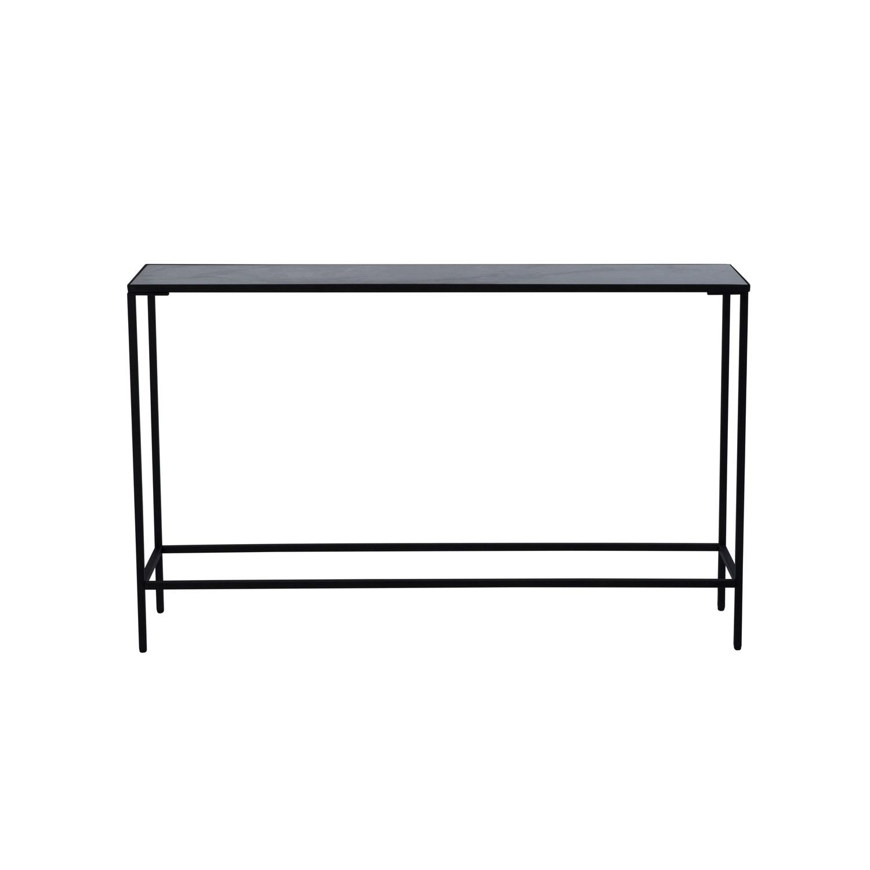 CANETT Tiago rektangulær konsolbord - marmor og sort jern (116,5x26,5)