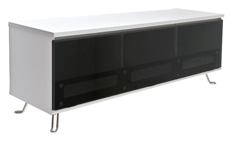 Billede af Cato TV-bord - hvid med glaslåge- og hylder