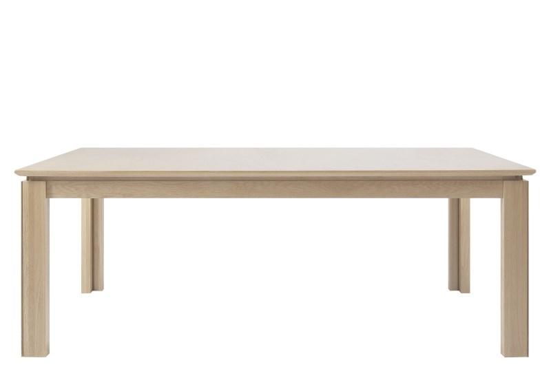 Ventura spisebord - hvidpigmenteret eg, incl. 4 tillægsplader
