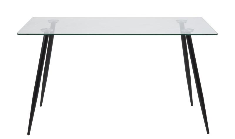 Wilma Spisebord - Klar/Sort Glas, M. Glasplade Og Sorte Ben, Rektangulær, Inkl Plastik Fodsko, (75X140X80)