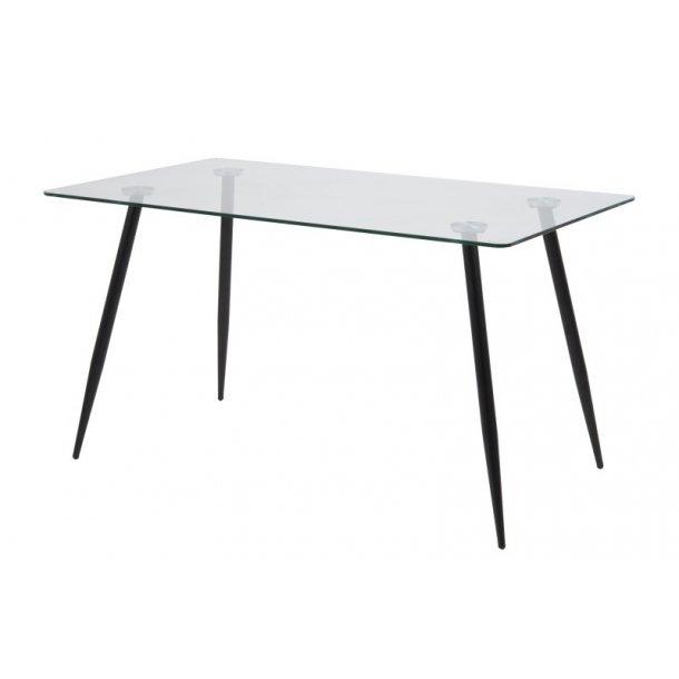 Wilma spisebord m. glasplade og sorte ben