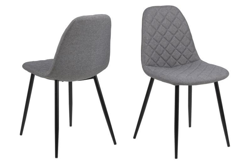 Image of   Wilma spisebordsstol - lysegrå stof m. sort stel, uden armlæn