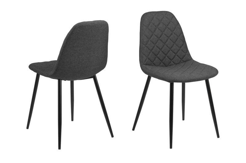 Billede af Wilma spisebordsstol - mørkegrå med sorte ben
