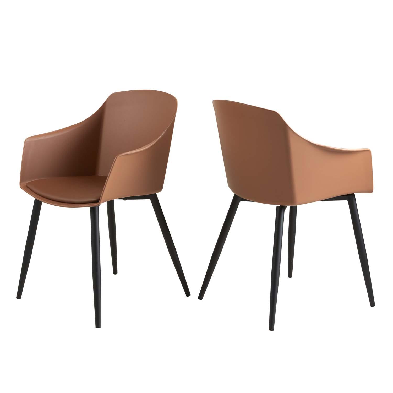 CANETT Line spisebordsstol, m. armlæn - cognac plastik og sort jern