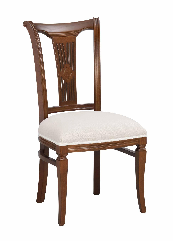 Ramona spisebordsstol - Lakeret træ, hvid stof hynde
