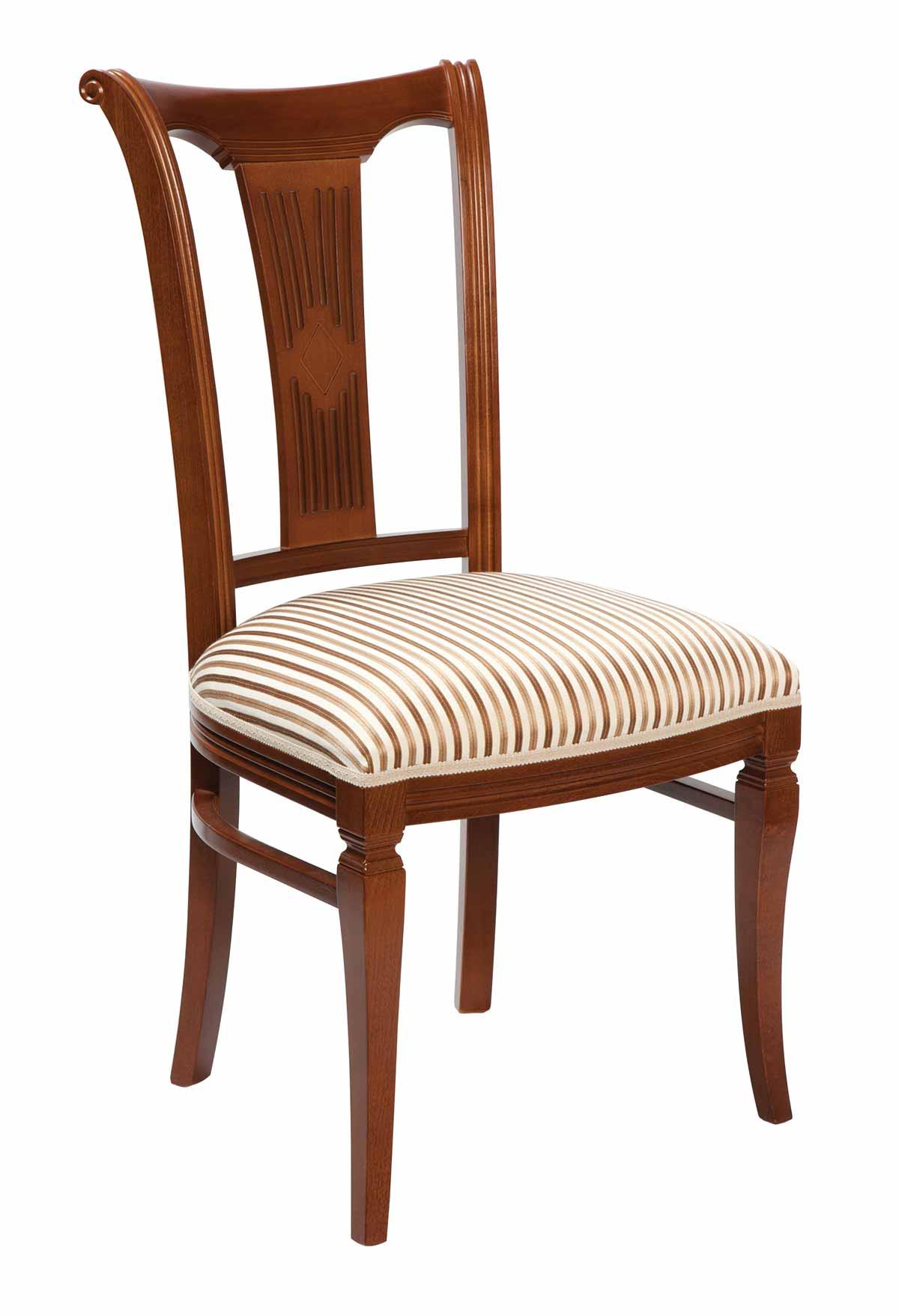 Ramona spisebordsstol - Lakeret træ, stof hynde