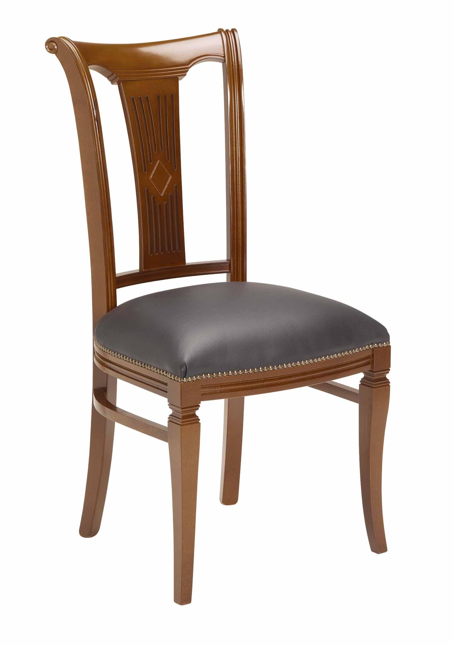 Ramona spisebordsstol - Lakeret træ, sort læder hynde
