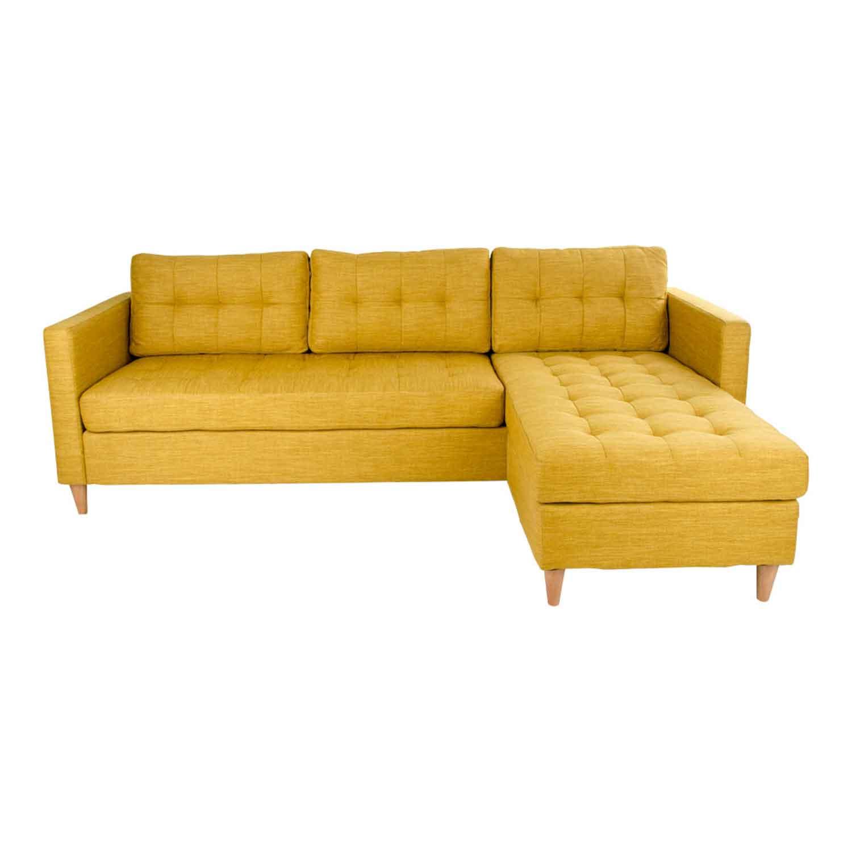 HOUSE NORDIC Marino sofa m. chaiselong - karrygult stof/natur træ, flytbar puf