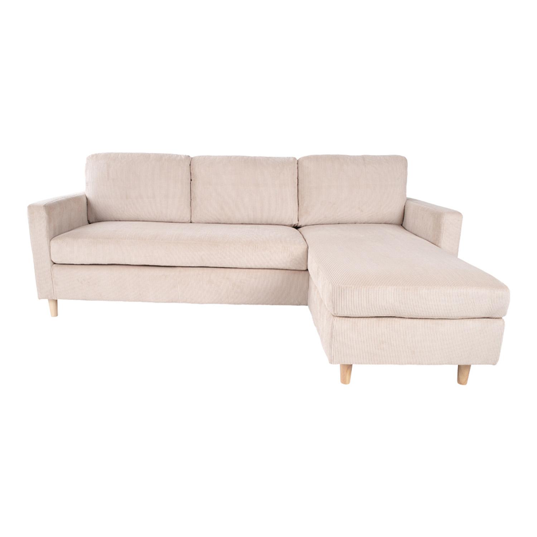 HOUSE NORDIC Toscana sofa m. chaiselong - sand polyester og træ