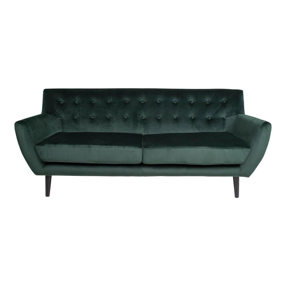 HOUSE NORDIC Monte 3-personers sofa - grøn velour/træ, m. armlæn