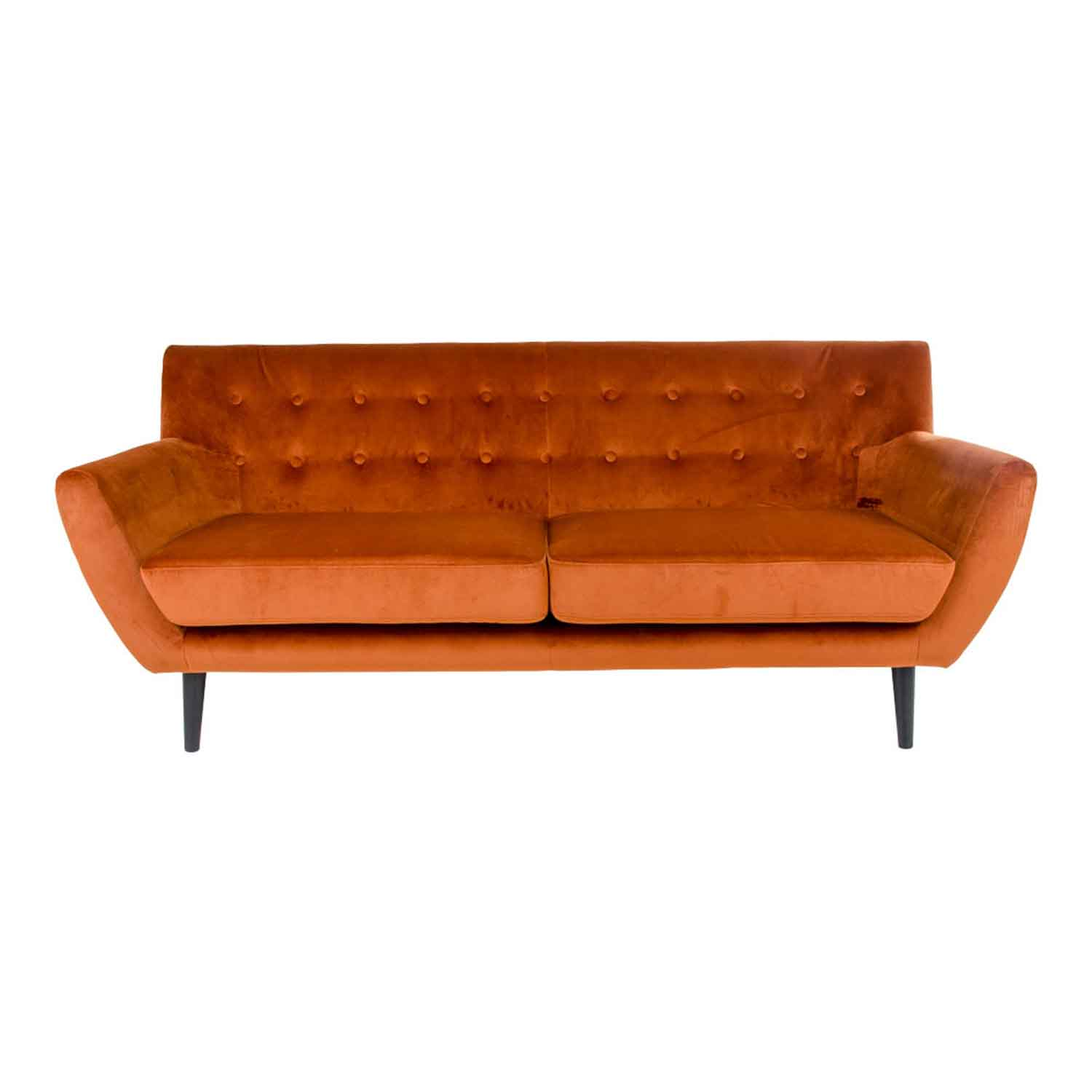 HOUSE NORDIC Monte 3-personers sofa - orange velour/træ, m. armlæn