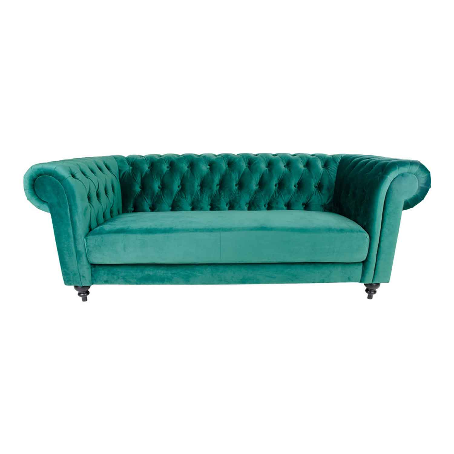 Image of   HOUSE NORDIC Chester 3-personers sofa - grøn velour/træ