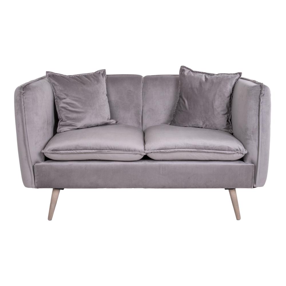 House nordic antibes 2 pers. sofa - grå/natur velour/birketræ fra house nordic fra boboonline.dk