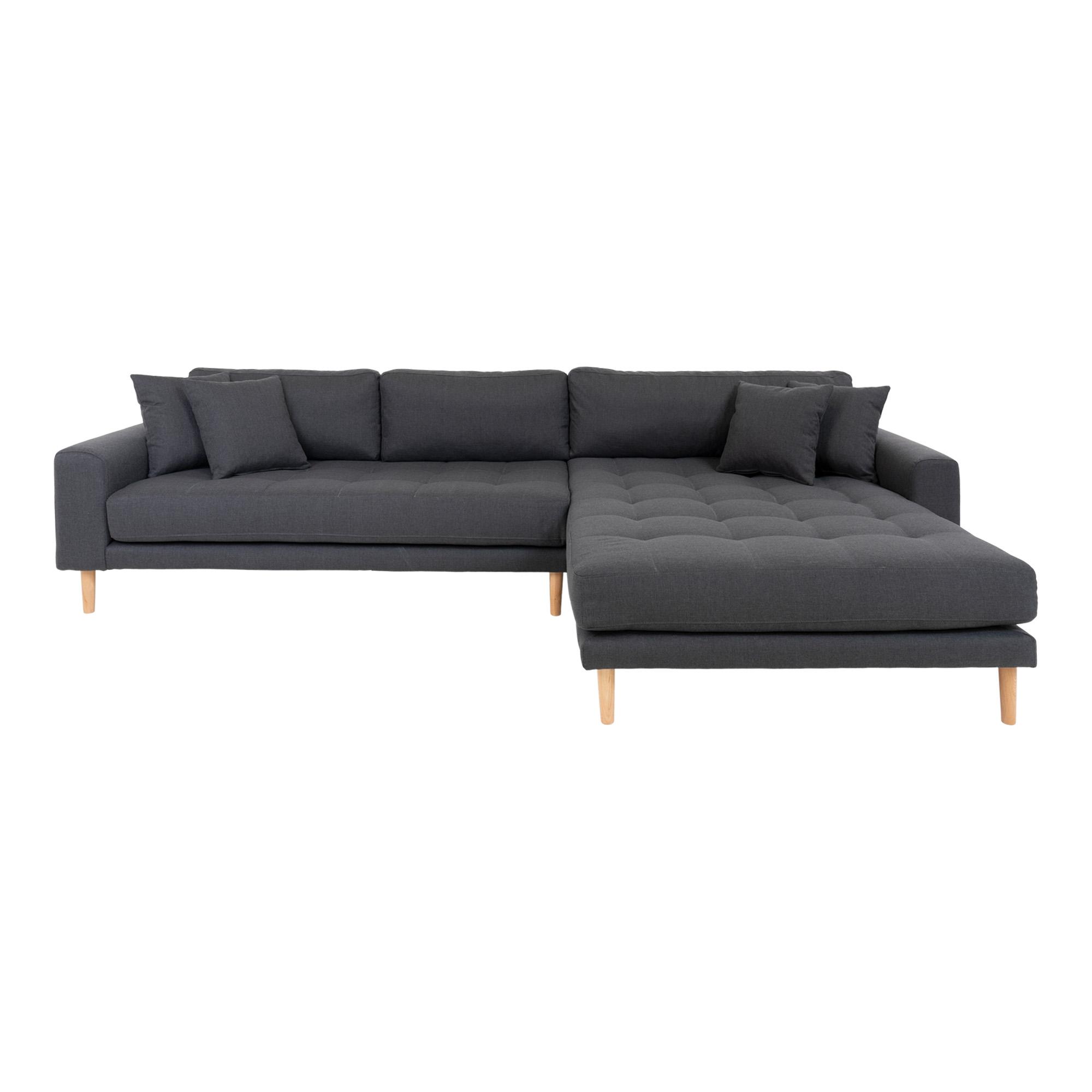 HOUSE NORDIC Lido sofa, m. højrevendt chaiselong - mørkegrå polyester