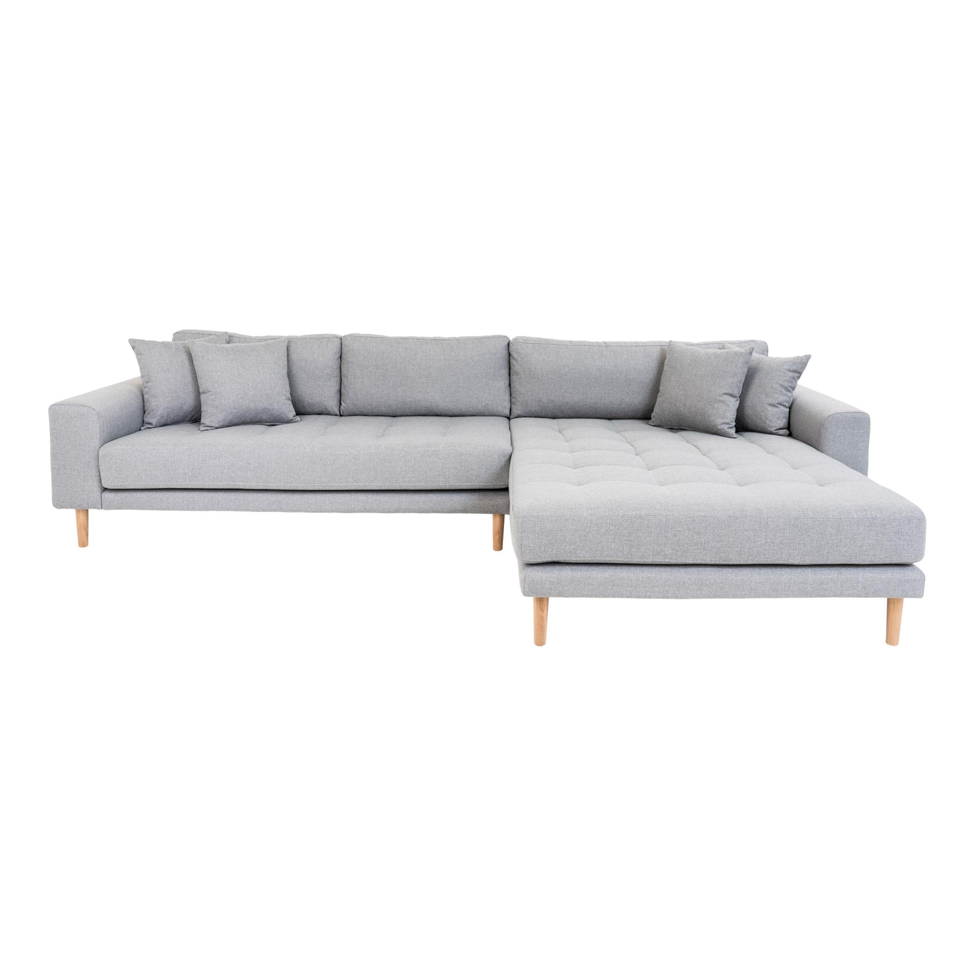 HOUSE NORDIC Lido sofa, m. højrevendt chaiselong - lysegrå polyester