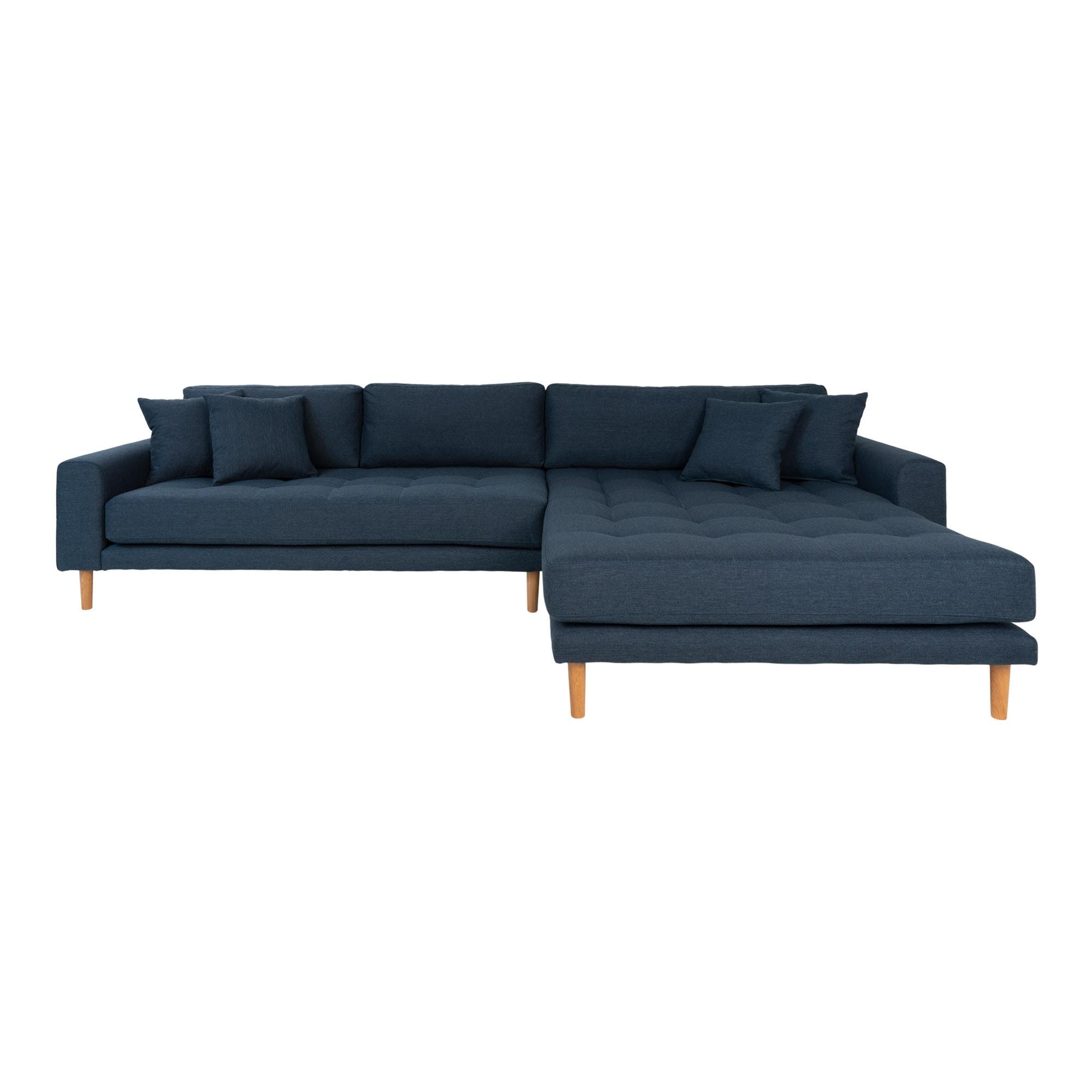 HOUSE NORDIC Lido sofa, m. højrevendt chaiselong - mørkeblå polyester