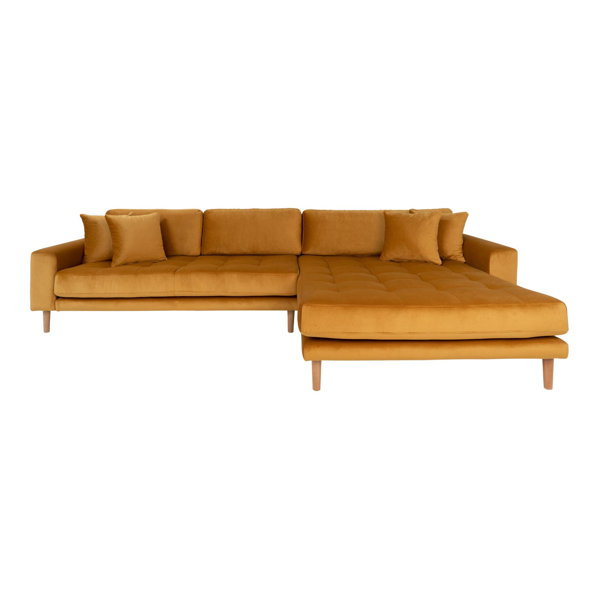 HOUSE NORDIC Lido sofa, m. højrevendt chaiselong - sennepsgul velour