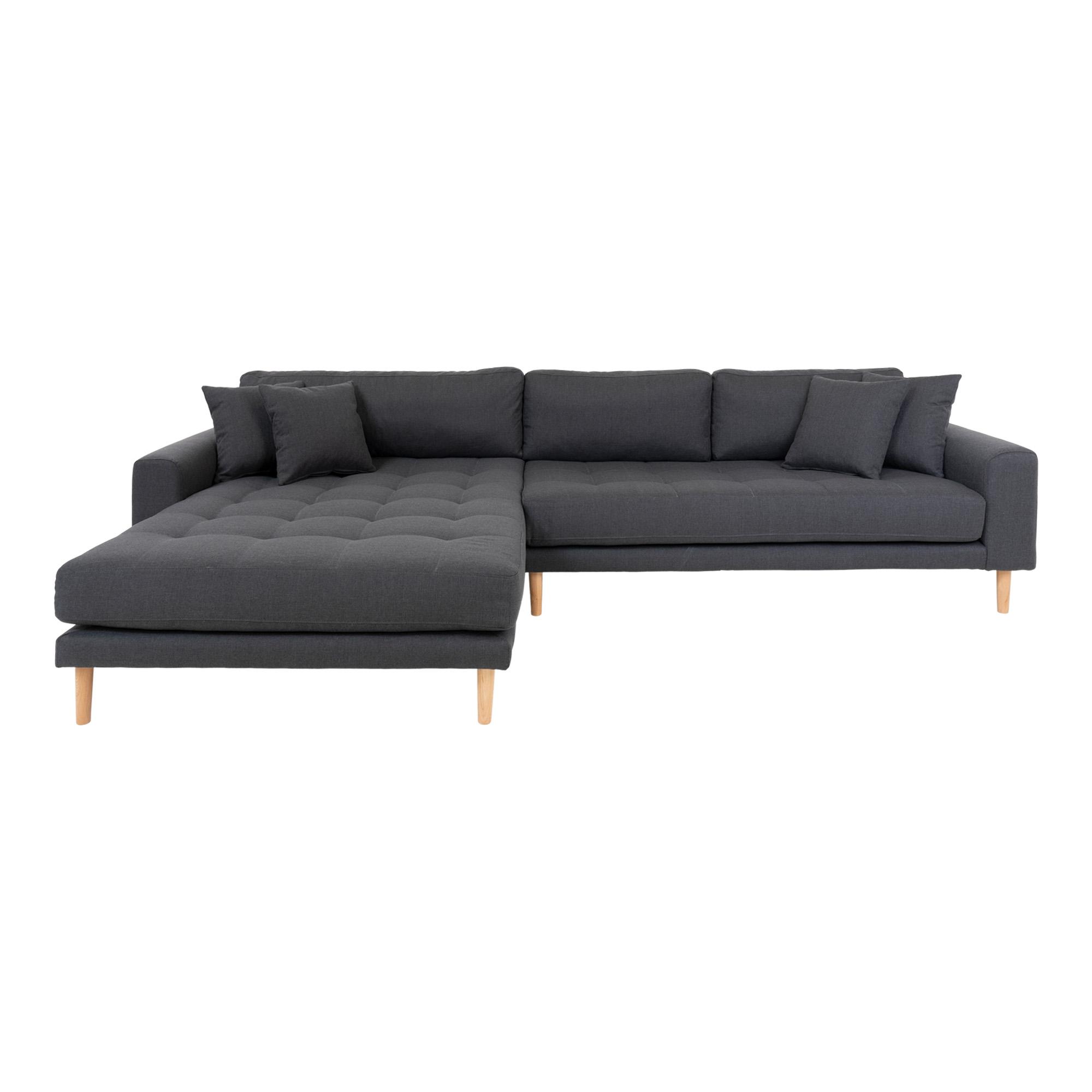 HOUSE NORDIC Lido sofa, m. venstrevendt chaiselong - mørkegrå polyester
