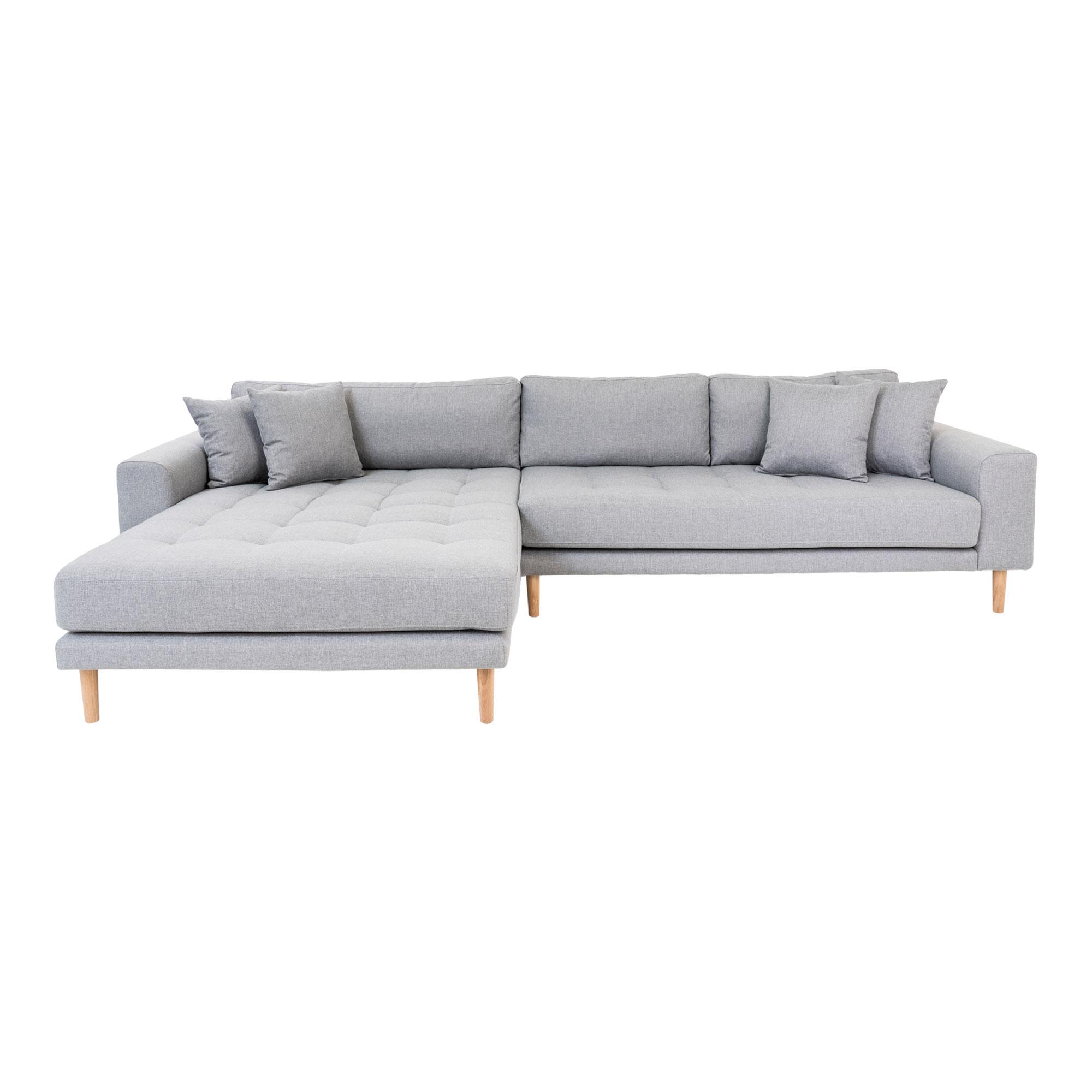 HOUSE NORDIC Lido sofa, m. venstrevendt chaiselong - lysegrå polyester