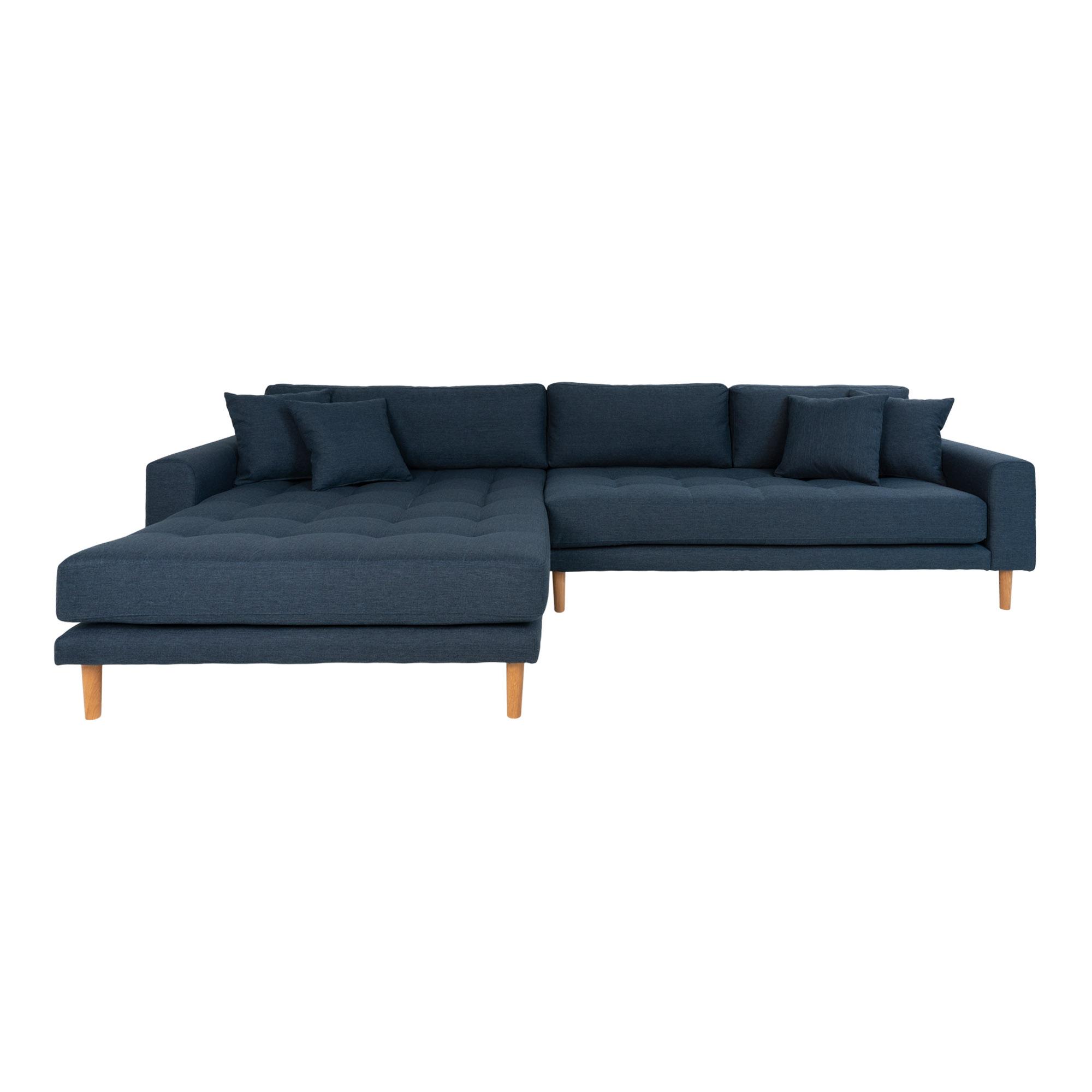 HOUSE NORDIC Lido sofa, m. venstrevendt chaiselong - mørkeblå polyester