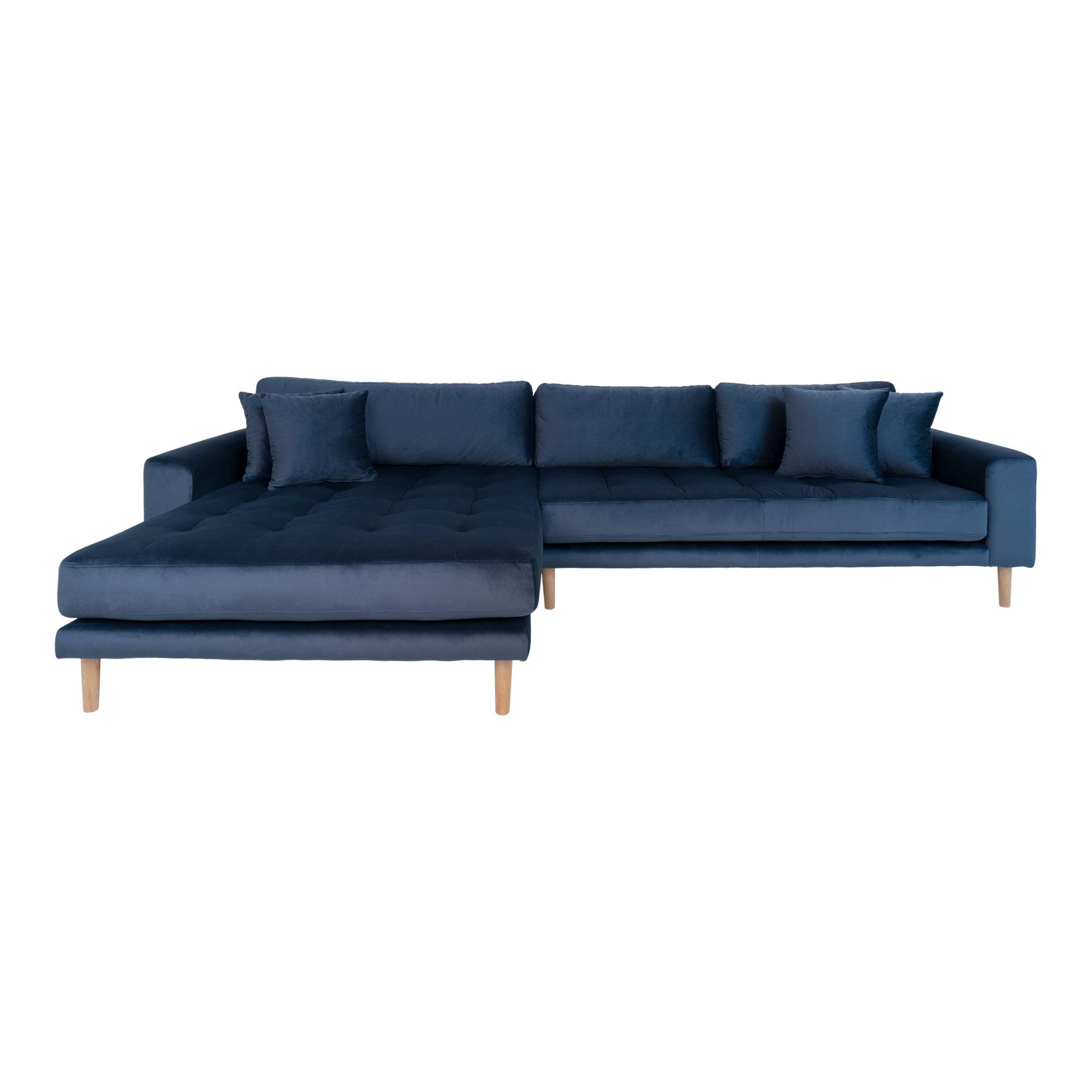HOUSE NORDIC Lido sofa, m. venstrevendt chaiselong - mørkeblåt velour