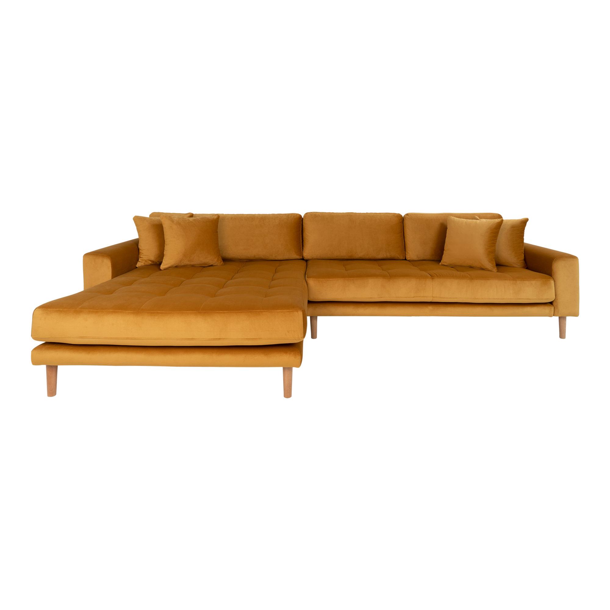 HOUSE NORDIC Lido sofa, m. venstrevendt chaiselong - sennepsgul velour