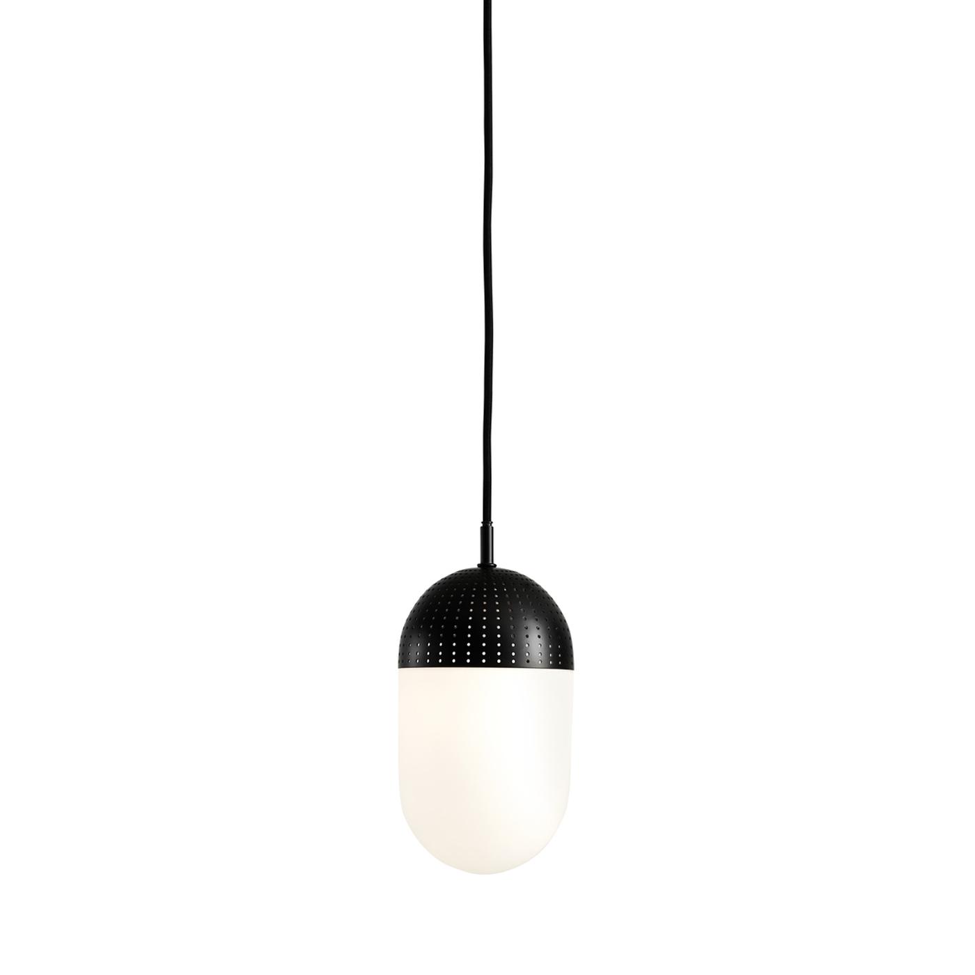 WOUD Dot loftlampe stor - opal/sort glas/metal, rund (Ø12)