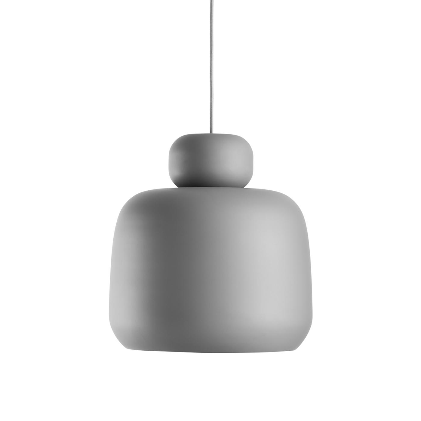 Woud Stone Loftlampe - Grå Metal, Rund (Ø36)