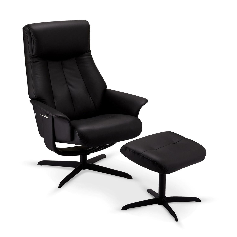 Billede af Bilbao recliner lænestol, m. armlæn, drejefunktion og skammel - sort læder m. sorte ben