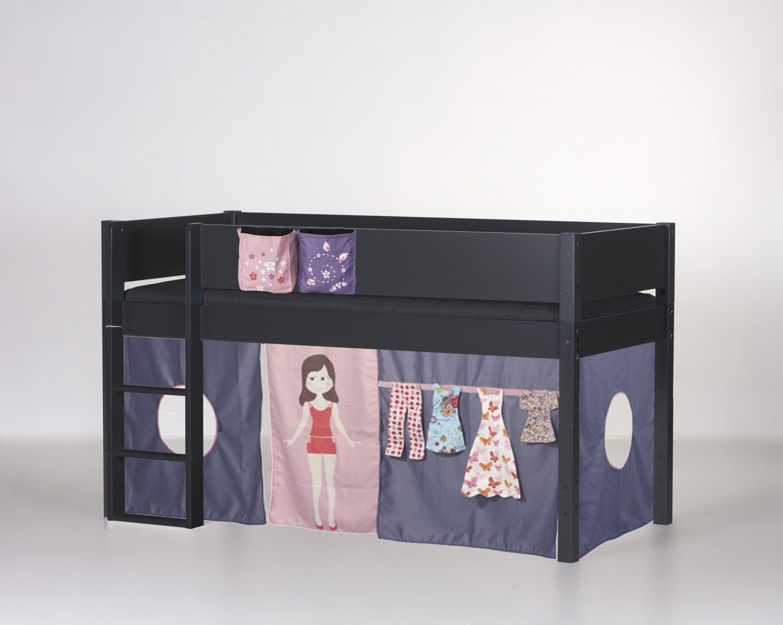 MANIS-H Frej halvhøj seng inkl. forhæng, antracitgrå (200x90) Tic Tac Toe