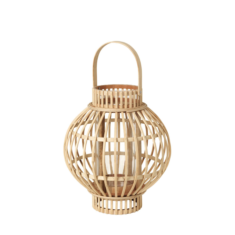 Køb BROSTE COPENHAGEN Globus lanterne, rund – glas og natur bambus (Ø27)