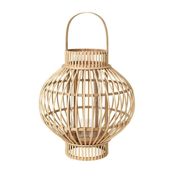 Køb BROSTE COPENHAGEN Globus lanterne, rund – glas og natur bambus (Ø36)