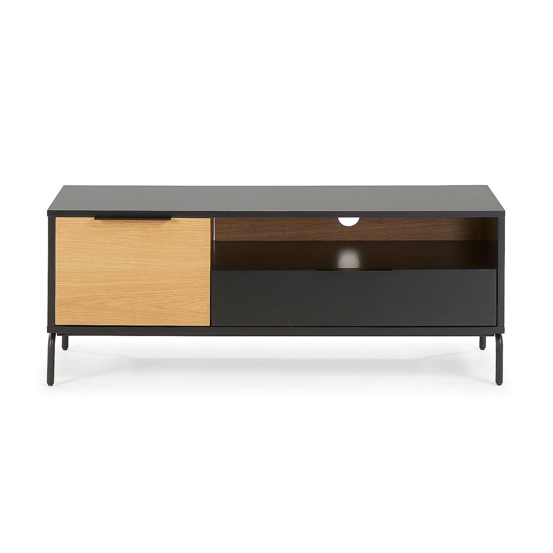 LAFORMA Savoi TV-bord - sort træ og metal og eg finér, m. 1 låge, 1 skuffe og 1 rum