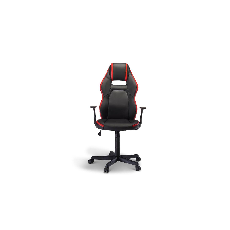 Billede af Space gaming stol - sort og rød kunstlæder, m. armlæn