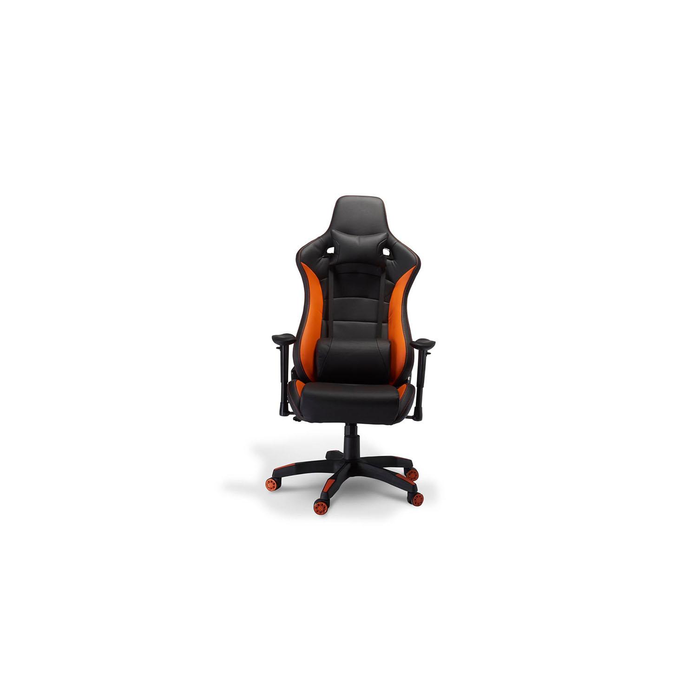 Billede af De Luxe Gaming stol - sort og orange kunstlæder, m. armlæn