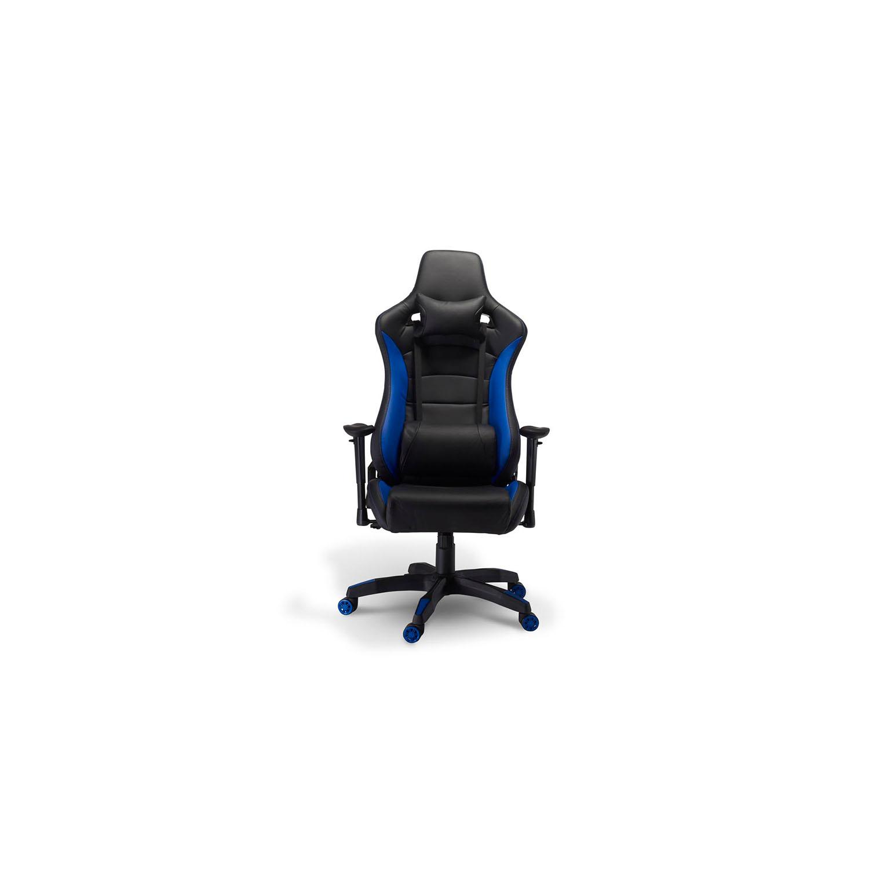 Billede af De Luxe Gaming stol - sort og blå kunstlæder, m. armlæn