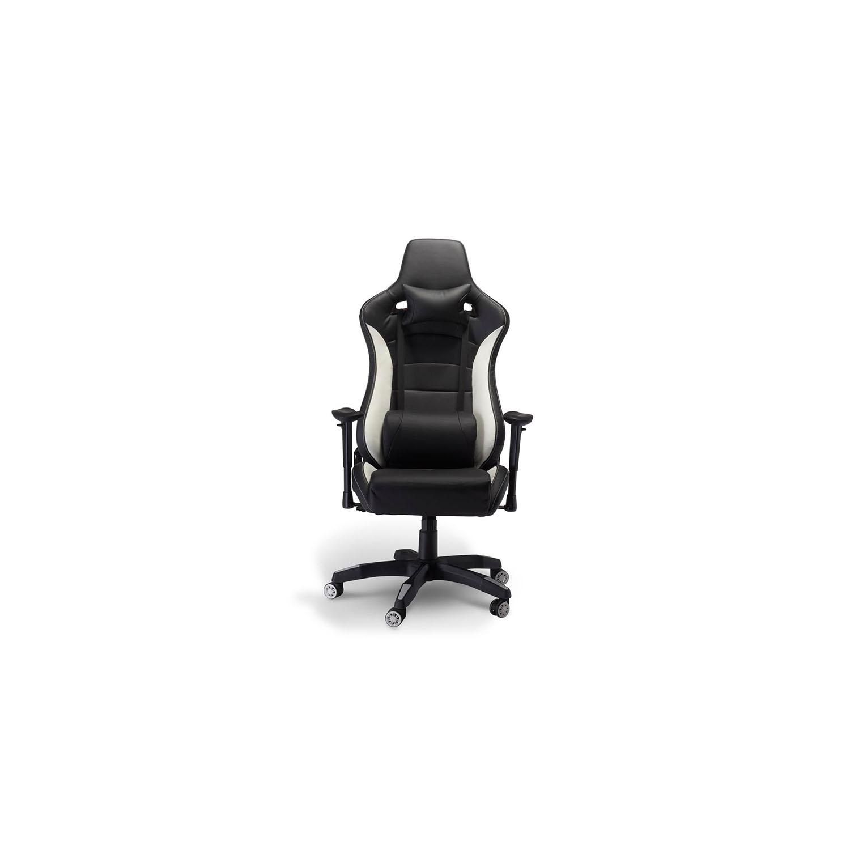 Billede af De Luxe Gaming stol - sort og hvid kunstlæder, m. armlæn